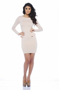 Peplum Long Sleeve Dress