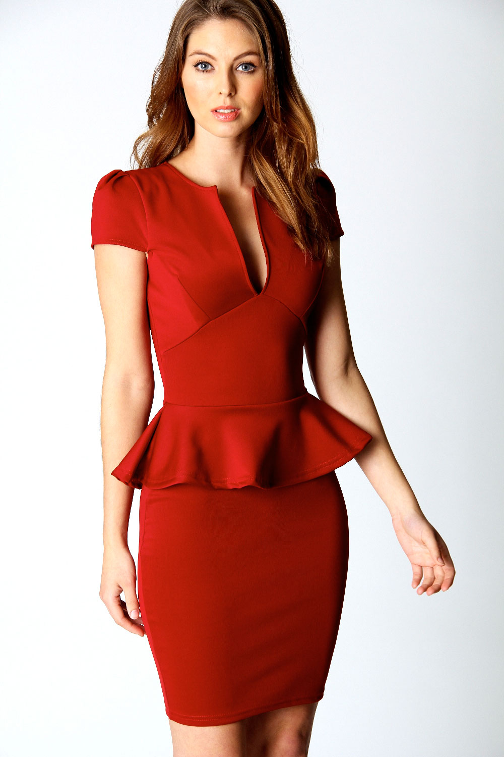 Red Peplum Dress Picture Collection Dressedupgirl Com