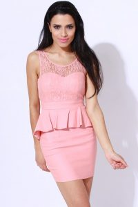 Pink Lace Peplum Dress