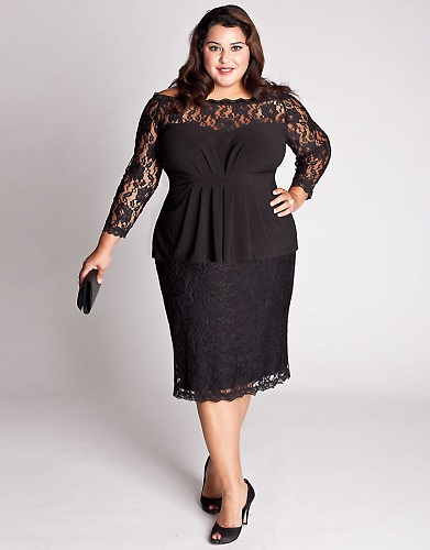 Plus Size Black Lace Dress Kapres Molene