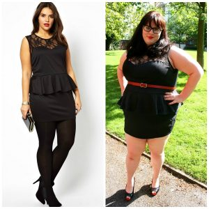 Plus Size Black Peplum Dress