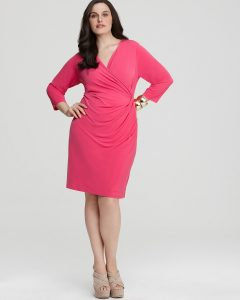 Plus Size Faux Wrap Dress