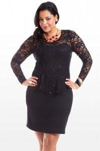 Plus Size Lace Peplum Dress