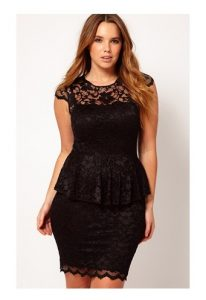 Plus Size Lace Peplum Dress