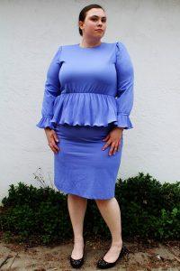 Plus Size Long Sleeve Peplum Dress