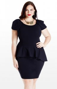 Plus Size Peplum Dress With Sleeves