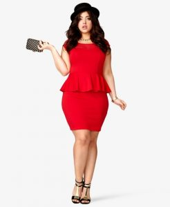 Plus Size Red Peplum Dress