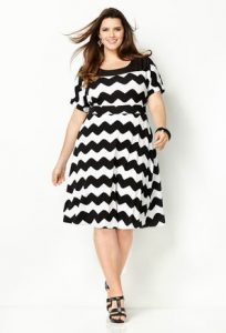 Plus Size Short Sleeve Chevron Dress