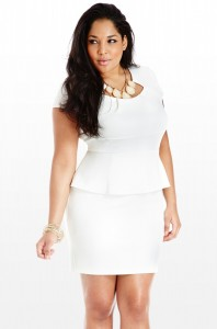 Plus Size White Peplum Dress