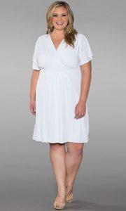 Plus Size White Wrap Dress