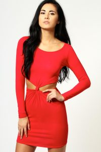 Red Bodycon Dress Long Sleeve