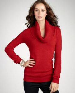 Red Cowl Neck Sweater Dress