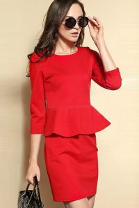 Red Peplum Dress With Sleeves