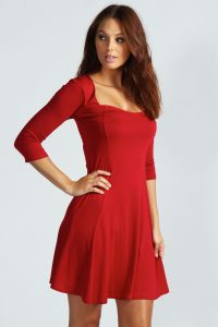 Red Skater Dress With Sleeves