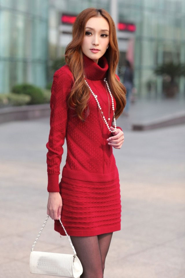 A warm, red sweater dress is just what you need to keep you cozy and fashionable. Wear stockings or tights underneath with a pair of boots or booties from our shoe department. Shop Green Dresses >>> Shop Gold Dresses>>> Shop Black Dresses>>> Shop Blue Dresses>>>.