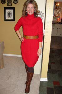 Red Turtleneck Sweater Dress
