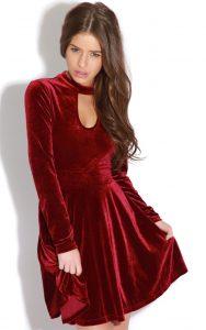 Red Velvet Skater Dress