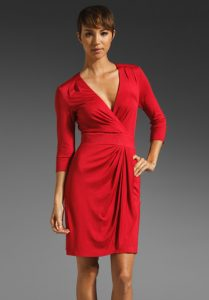 Red Wrap Sleeve Dress