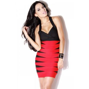 Red and Black Bandage Dress