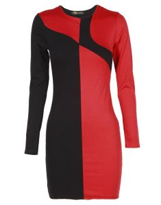 Red and Black Bodycon Dress