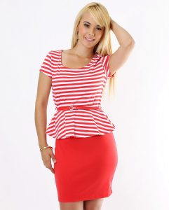 Red and White Peplum Dress