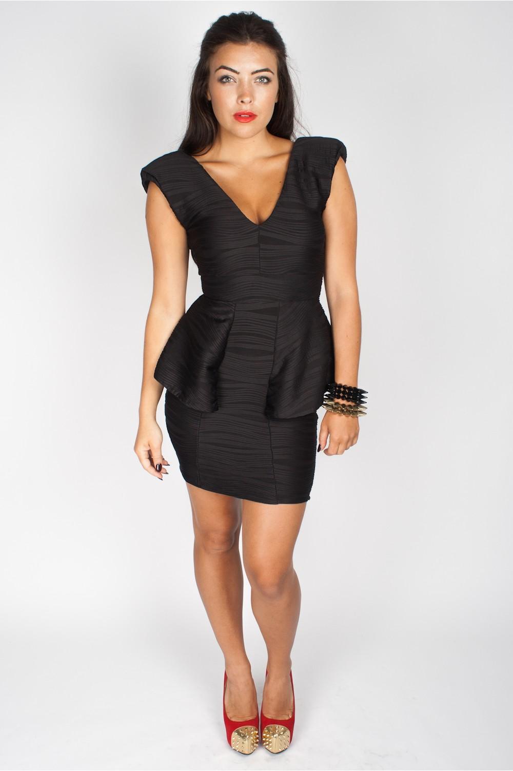 Black Peplum Dress Picture Collection Dressedupgirl Com
