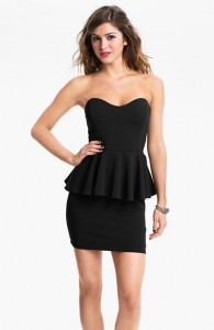 Strapless Black Peplum Dress