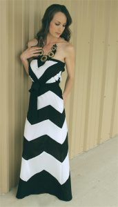 Strapless Black and White Chevron Dress