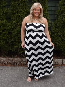 Strapless Plus Size Chevron Dress