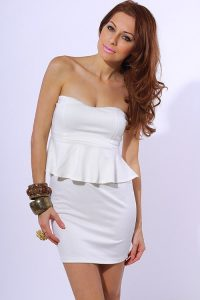 Strapless White Peplum Dress