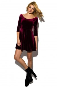Velvet Full Sleeve Skater Dress