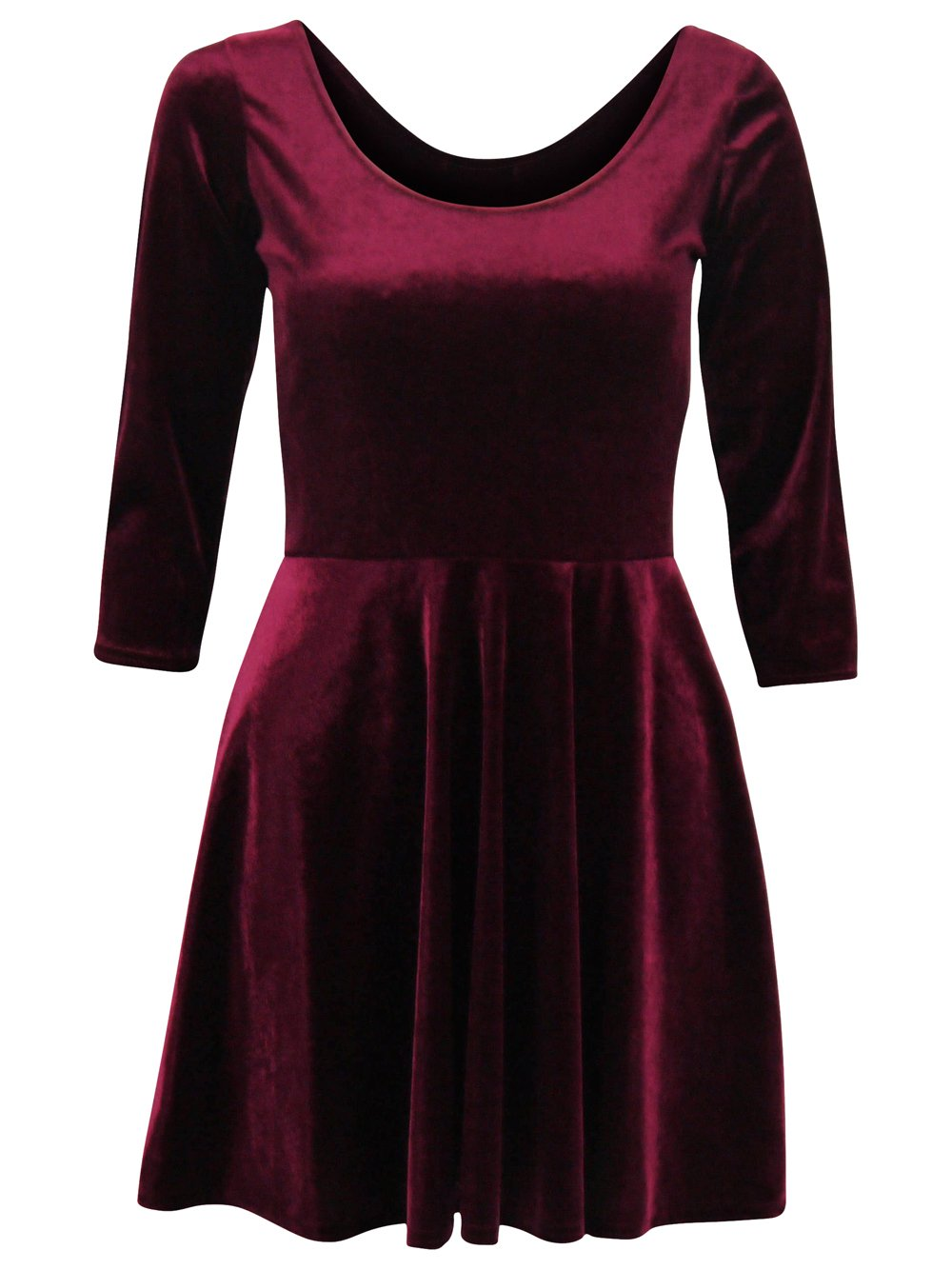 Long sleeve red velvet skater dress