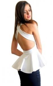 White Backless Peplum Dress