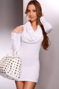 White Cowl Neck Sweater Dress