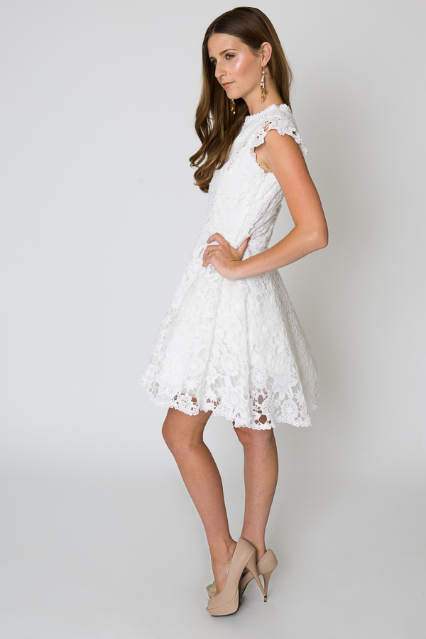 White Lace Cocktail Dresses With Sleeves - Long Dresses Online