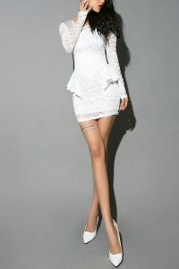White Lace Peplum Dress