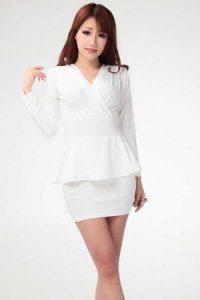 White Long Sleeve Peplum Dress