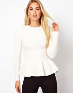 White Long Sleeve Peplum Dress
