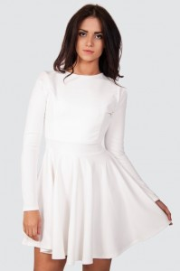 White Long Sleeve Skater Dress