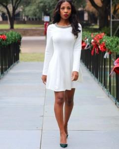 White Long Sleeve Skater Dress