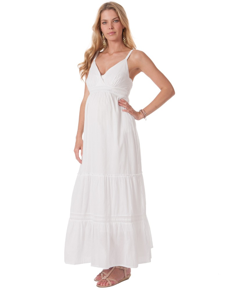 WHITE MATERNITY MAXI DRESS - Mansene Ferele