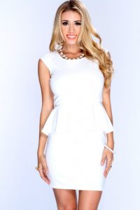 White Peplum Cocktail Dress