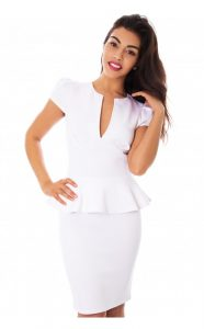 White Peplum Dress With Sleeves