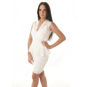 White Peplum Lace Dress