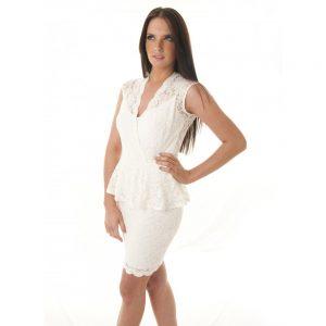 White Peplum Lace Dress