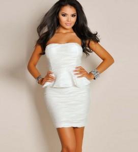 White Strapless Peplum Dress