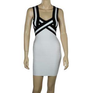 White and Black Bandage Dress