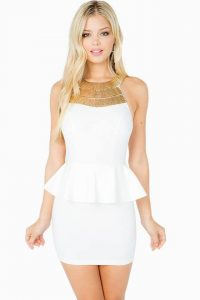 White and Gold Peplum Dress