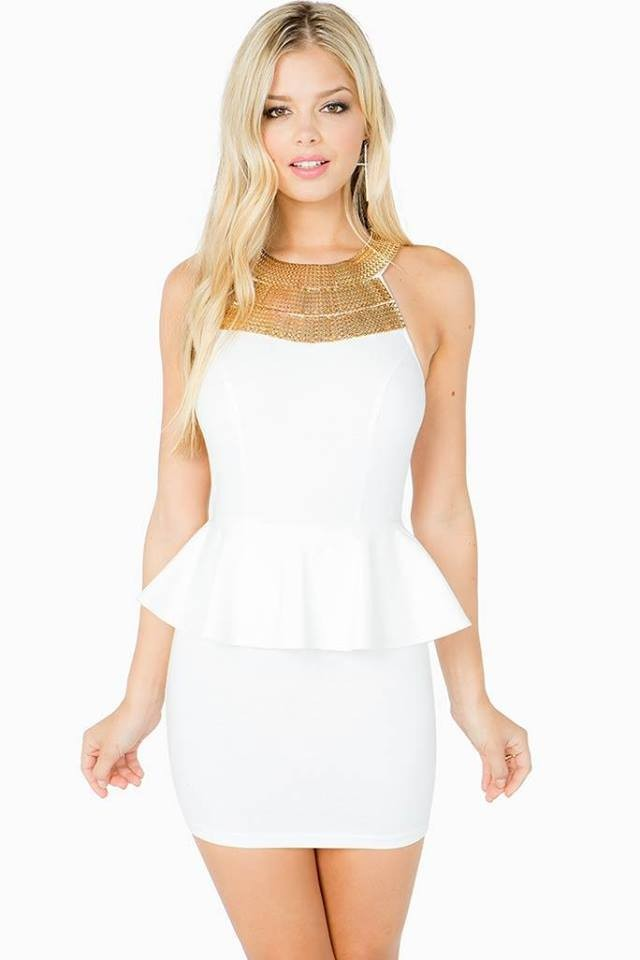 white peplum dress dressed up girl