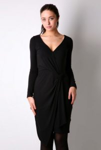 Womens Black Wrap Dress